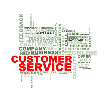 responded: Illustration of wordcloud word tags of concept of customer service