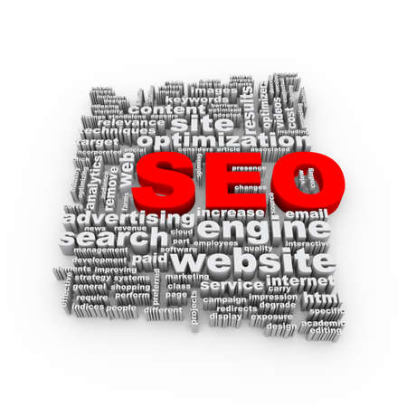 page rank: 3d Illustration of word tags wordcloud seo search engine optimization