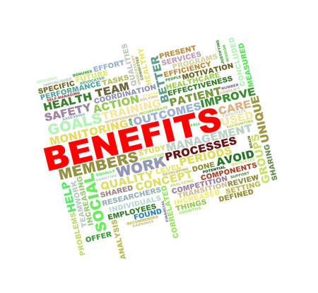 compensate: Illustration of wordcloud word tags of concept of benefits