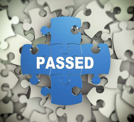 passed: 3d illustration of attached jigsaw puzzle pieces word passed presentation on background of heap of puzzle pieces