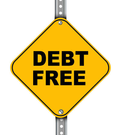 dues: Illustration of yellow signpost road sign of debt free