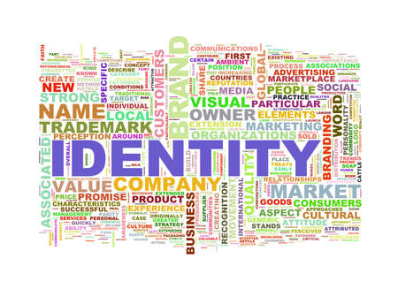 branded product: Illustration of wordcloud word tags of concept of identity