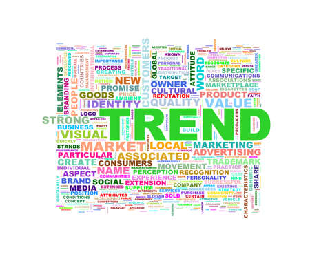 trend: Illustration of wordcloud word tags of concept of trend