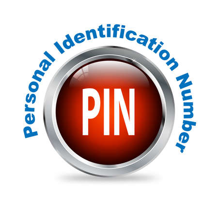 identification: Illustration of shiny round glossy button of personal identification number - pin Stock Photo