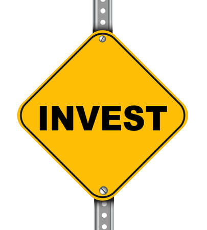 bankroll: Illustration of yellow signpost road sign of invest
