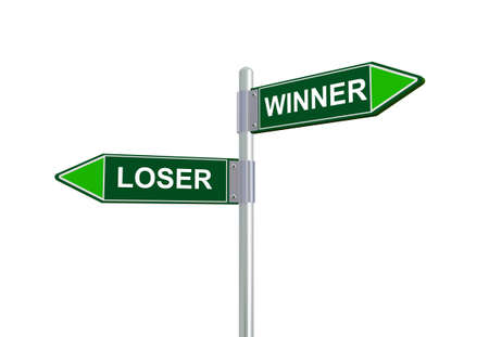 comparable: 3d illustration of loser and winner road sign