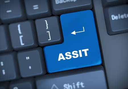 assist: 3d illustration of computer keyboard enter button with text assist Stock Photo