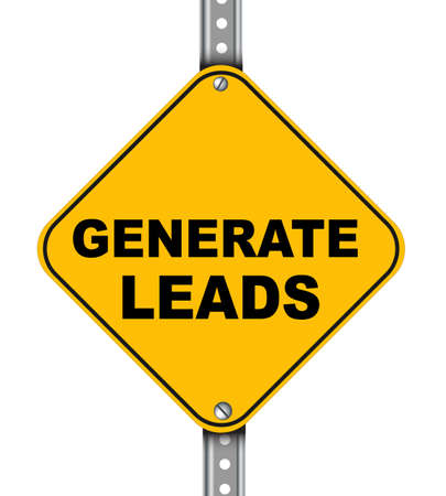 generate: Illustration of yellow signpost road sign of generate leads Stock Photo