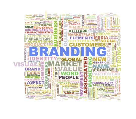 branded product: Illustration of word tags wordcloud of branding Stock Photo
