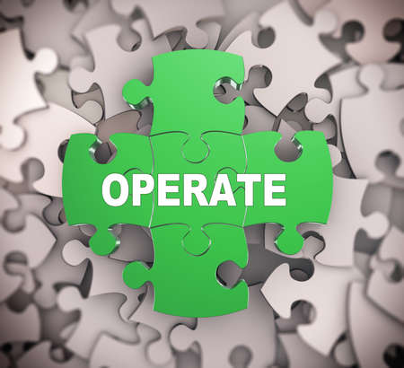 react: 3d illustration of attached jigsaw puzzle pieces word operate presentation on background of heap of puzzle pieces