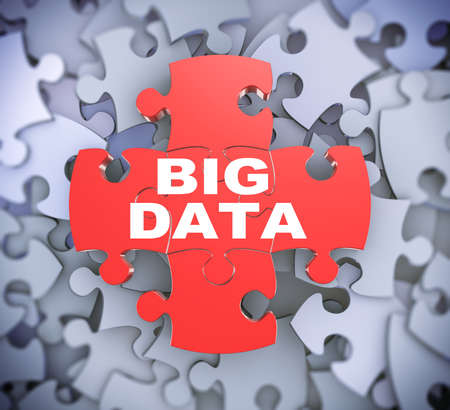 attached: 3d illustration of attached jigsaw puzzle pieces phrase big data presentation on background of heap of puzzle pieces Stock Photo