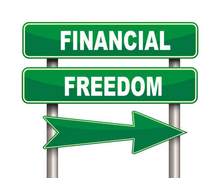 financial freedom: Illustration of green arrow and road sign of financial freedom