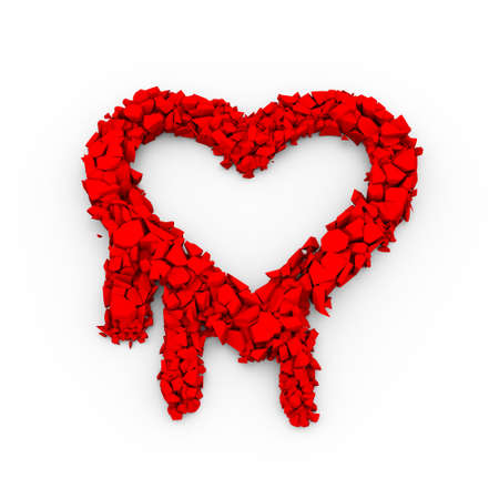 vulnerable: 3d illustration of cracked openssl heartbleed sucrity breach icon sign Stock Photo