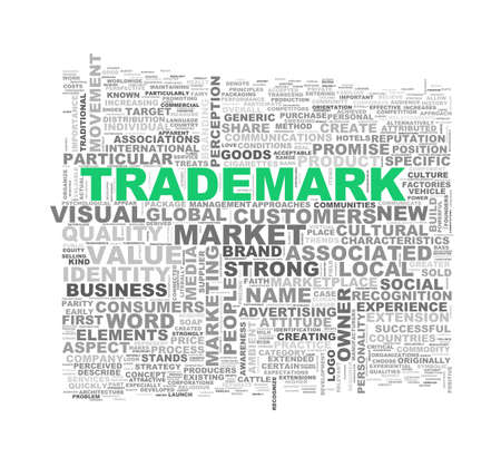 branded product: Illustration of wordcloud word tags of concept of trademark