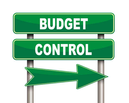 allocation: Illustration of green arrow and road sign of budget control