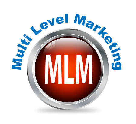 mlm: Illustration of shiny round glossy button of Multi Level Marketing - mlm Stock Photo