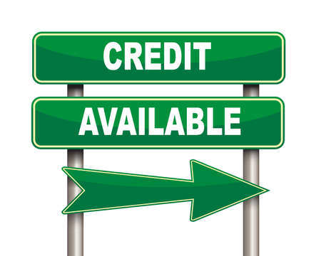 installment: Illustration of green arrow and road sign of Credit available Stock Photo