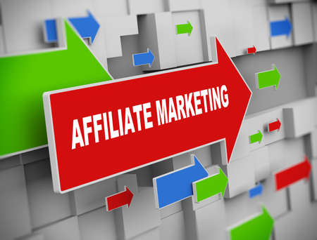 affiliate: 3d illustration of moving arrow of affiliate marketing on abstract wall background