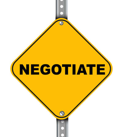 transact: Illustration of yellow signpost road sign of negotiate