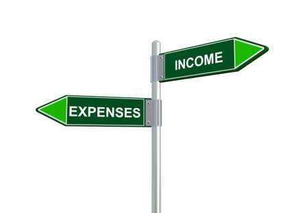 outflow: 3d illustration of expenses and income road sign