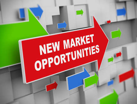 new opportunity: 3d illustration of moving arrow of market opportunities on abstract wall background.
