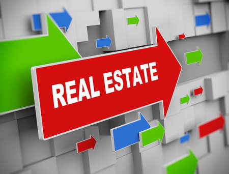 brokerage: 3d illustration of moving arrow of real estate on abstract wall background Stock Photo