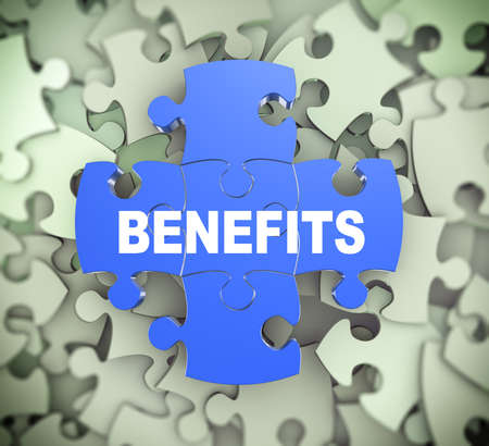 attached: 3d illustration of attached jigsaw puzzle pieces word benefits presentation on background of heap of puzzle pieces