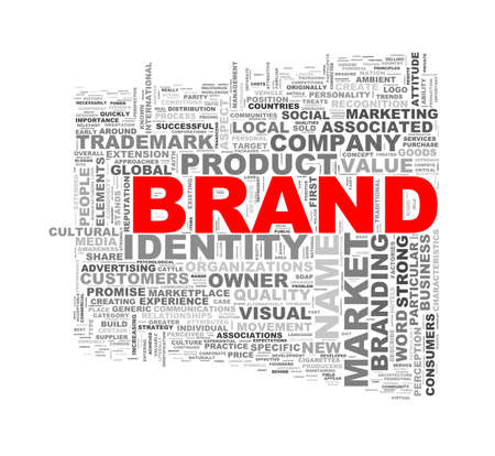 branded product: Illustration of wordcloud word tags of concept of brand