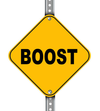 roadsigns: Illustration of yellow signpost road sign of boost