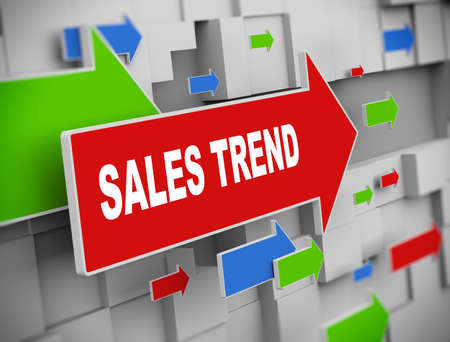 sales trend: 3d illustration of moving arrow of sales trend on abstract wall background