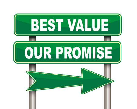 promise: Illustration of green arrow and road sign of best value our promise