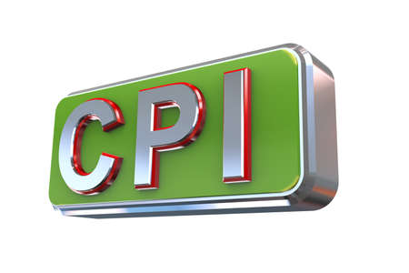 weighted: 3d illustration concept presentation of cpi - consumer price index