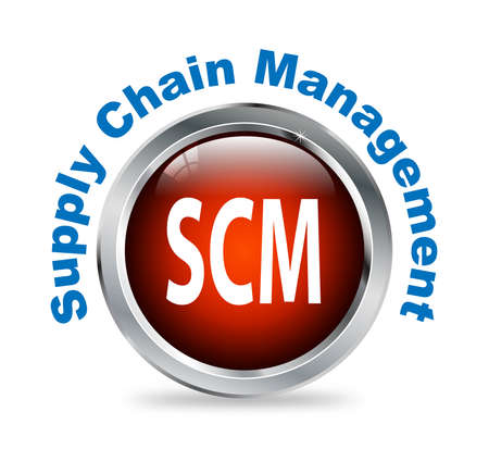 scm: Illustration of shiny round glossy button of supply chain management - scm