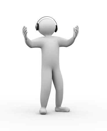 music 3d: 3d illustration of man wearing headphone listening and singing with music. 3d human person character and white people. Stock Photo