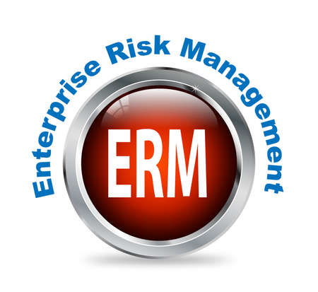 enterprise: Illustration of shiny round glossy button of enterprise risk management - erm