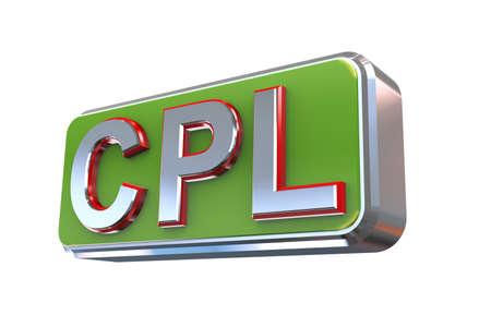 cpl: 3d illustration concept presentation of cpl - cost per lead