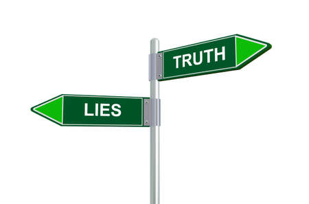 disbelief: 3d illustration of lies and truth road sign Stock Photo