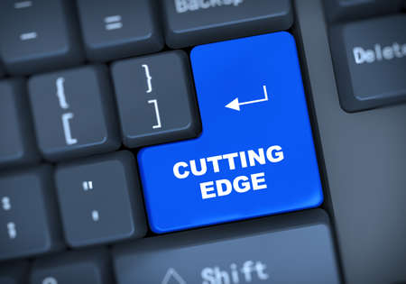 cutting edge: 3d illustration of computer keyboard enter button with word cutting edge