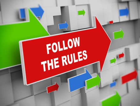 compliant: 3d illustration of moving arrow of follow the rules on abstract wall background