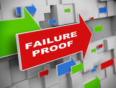 corroboration: 3d illustration of moving arrow of failure proof on abstract wall background