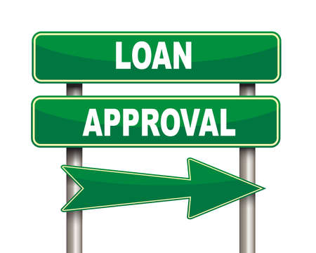 borrower: Illustration of green arrow and road sign of loan approval Stock Photo