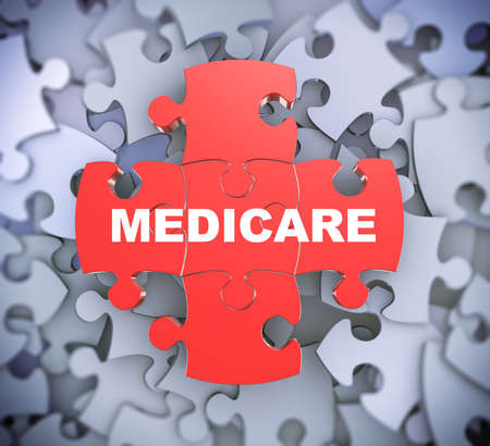 medicare: 3d illustration of attached jigsaw puzzle pieces word medicare presentation on background of heap of puzzle pieces Stock Photo