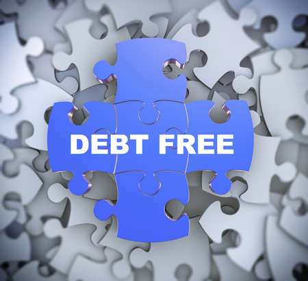 dues: 3d illustration of attached jigsaw puzzle pieces phrase debt free presentation on background of heap of puzzle pieces