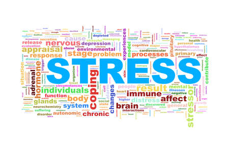 worry tension: Illustration of word tags wordcloud  of stress Stock Photo