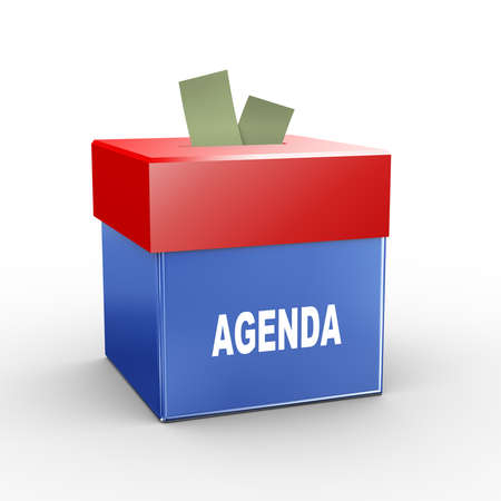 submission: 3d illustration of collection box of agenda Stock Photo