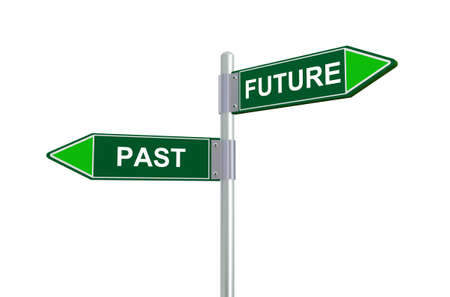 hopeful: 3d illustration of past and future road sign.
