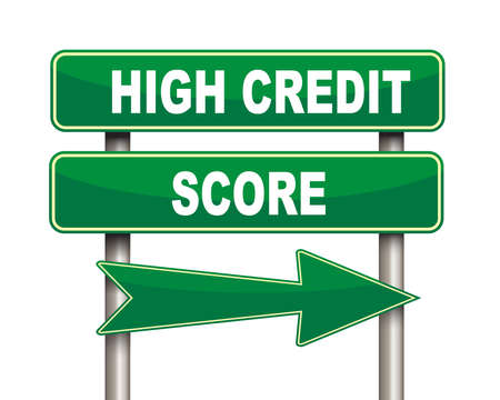 high road: Illustration of green arrow and road sign of high credit score
