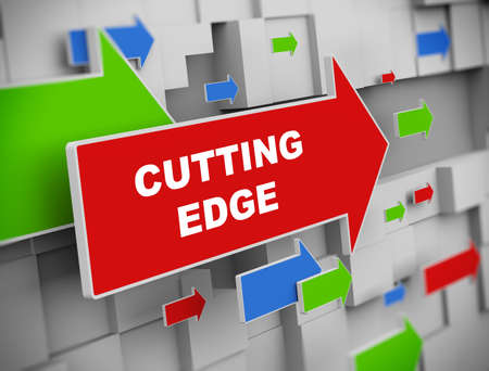 cutting edge: 3d illustration of moving arrow of cutting edge on abstract wall background