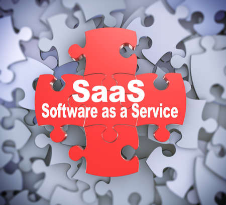 saas: 3d illustration of attached jigsaw puzzle pieces saas software as a service presentation on background of heap of puzzle pieces