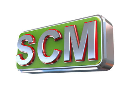 3d illustration concept presentation of scm - supply chain management